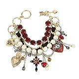 Betsey Johnson Mixed Heart Charm Multi Row Toggle Bracelet, RED (266288GLD600)
