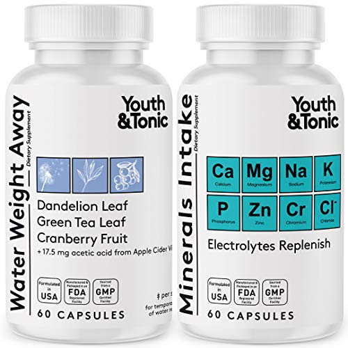 Water Weight Pills to Thin Waistline & Relief Belly Bloat Ankle & Leg Swelling + Electrolytes Support w/Potassium B6 VIT | Dandelion Natural Diuretic Supplement for Water Retention Loss | Woman & Men 1