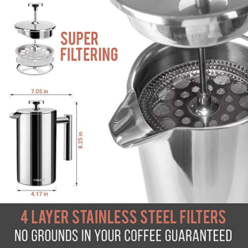 Mueller French Press Double Insulated 310 Stainless Steel Coffee Maker 4 Level Filtration System, No Coffee Grounds, Rust-Free, Dishwasher Safe 8
