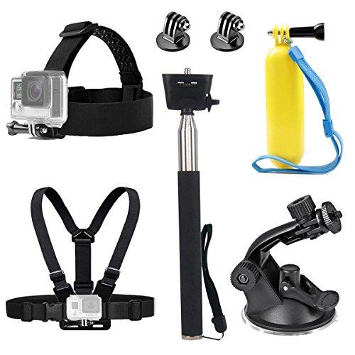TEKCAM Action Camera Head Strap Chest imbracatura Mount Selfie Stick maniglia galleggiante ventosa accessori montaggio compatibile con GoPro Hero 7 6 Crosstour Campark 4K Victure telecamera subacquea
