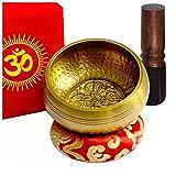 TARORO Bol chantant Ø12cm, fait main au Népal ~ 7 Métaux ~ Vendu avec un coussin en soie rouge, un maillet et une boîte en papier Lotka rouge ~ Pour la méditation du yoga ~ Un cadeau spirituel