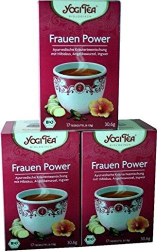 Yogi Tea® Frauen Power I 3er Pack Yogi Tee mit echter Bio-Qualität I leckere ayurvedische Gewürz-Tee-Mischung mit Hibiskus Angelikawurzel Ingwer uvm. als Frauen-Tee I Tee-Set mit 3x 17 Tee-Beutel