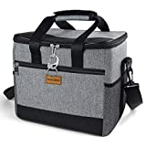 TAOCOCO Collapsible Cooler Bag, 50 Can Insulated Leakproof Soft-Sided Beverage Tote with Shoulder Strap, Bottle Opener and Storage Pockets for Outdoor Travel Hiking Beach Picnic BBQ Party (Gray)