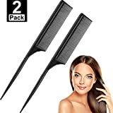 2 Pack Black Carbon Styling Comb Fiber Anti Static and Heat Resistant Tail Comb for Back Combing, Root Teasing, Adding Volume, Evening Styling (Style B)