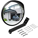 Ovsor Convex Mirror Outdoor for Garage and Traffic Driveway Park Assistant, 12 in Security Mirror with Adjustable Fixing Bracket Indoor and Outdoor