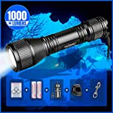 ORCATORCH D550 Scuba Dive Light 1000 Lumens Tail Magnetic Controlled Switch Underwater Flashlight Kit with Stainless Steel Bolt Snap, for 150 Meters Underwater Diving