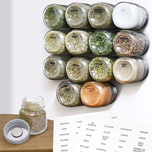 Magnetic Spice Rack Large Jars 15 Pack Holds 4oz, Fridge Mounted Spice Jars, Spice Jars for Stylish Spice Storage...