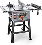 Table Saw, 10-Inch 15-Amp Table Saw, Cutting Speed up to 4800RPM, Aluminum Extension...