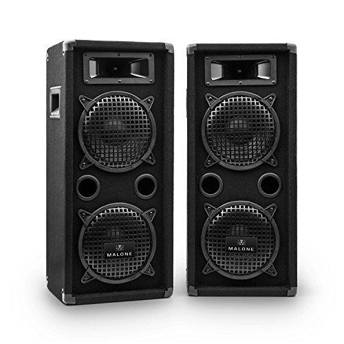 "Malone PW-08X22 PA Lautsprecher Paar 3-Wege-Boxen Passive Fullrange Boxen 2 x 800 Watt max. Leistung 2 x 20 cm (8\"")-Tieftöner 2 x Horn-Mitteltöner 2 x Piezo-Hochtöner schwarz"