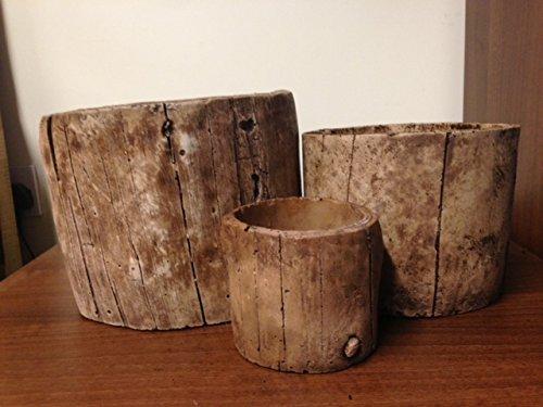 Effetto barile di legno-Set di 3 porta vasi