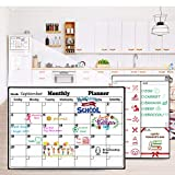 Homein Magnetic Dry Erase Calendar, Refrigerator Whiteboard Calendar Set, Magnetic Calendar White Board Planner for Fridge, Monthly and Weekly Family Calendar with Grocery List Notepad for Kitchen