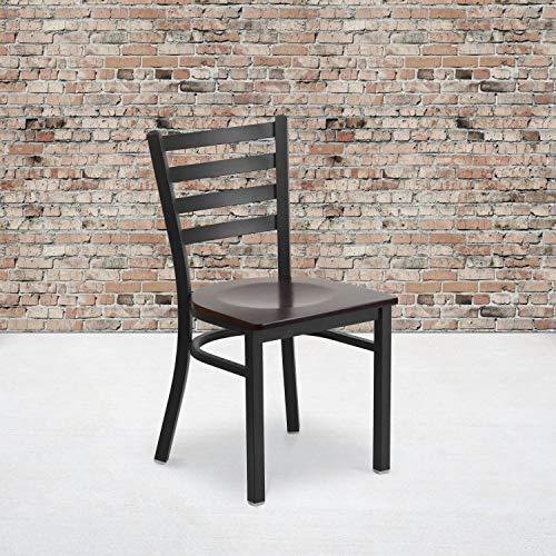 Flash Furniture 2 Pack HERCULES Series Black Ladder Back Metal Restaurant Chair - Walnut Wood Seat