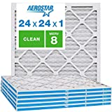 Aerostar Clean House 24x24x1 MERV 8 Pleated Air Filter, Made in the USA, 6-Pack