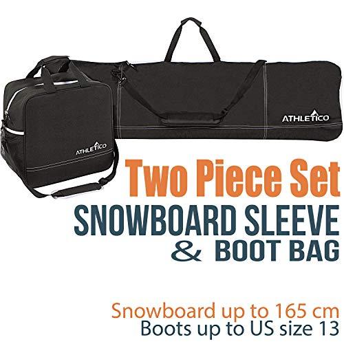 Athletico Two-Piece Snowboard e Boot Bag Combo | Store & Trasporto Snowboard Fino a 165cm e Stivali...