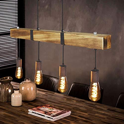 GBLY Vintage Pendelleuchte Holz Esstischlampe Retro Hängeleuchte mit 80CM Holzbalken, 4 x E27 max.40 Watt, Höhenverstellbar Industrial Pendellampe für Esszimmer Küche Wohnzimmer Bar Restaurant