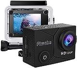 Piwoka Caméra Sport HD 1080P 12MP, Caméra d'action Étanche 30M 140 ° Grand Angle 2.0 '' Ecran LCD avec Batteries Rechargeables 900mAh et Kit d'accessoires