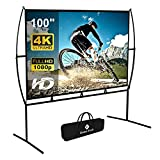 Projector Screen with Stand Foldable Portable Movie Screen 100 Inch(16:9), HD 4K Double Sided Projection Screen Indoor Outdoor Projector Movies Screen for Home Theater (100 Inch) …