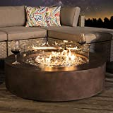 COSIEST Outdoor Propane Fire Pit Coffee Table w Dark Bronze 42-inch Round Base Patio Heater, 50,000 BTU Stainless Steel Burner, Wind Guard, Transparent Gray Fire Glass, Waterproof Cover
