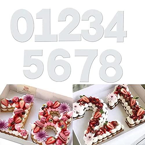 QAQHZW - Juego de 9 moldes para tartas con números, 0-8 números, herramienta para hornear pasteles, para glaseado en capas, frutas, pasteles, bodas, cumpleaños, fiestas, decoración (10 pulgadas)