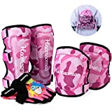 Knee Pads for Kids/Youth/Child, Soft Knee Pad Elbow Pads with Bike Gloves, Toddler Safety Protective Gear Set for Roller Skates Cycling BMX Skateboard Inline Skatings Scooter Riding (Pink Camo, L)