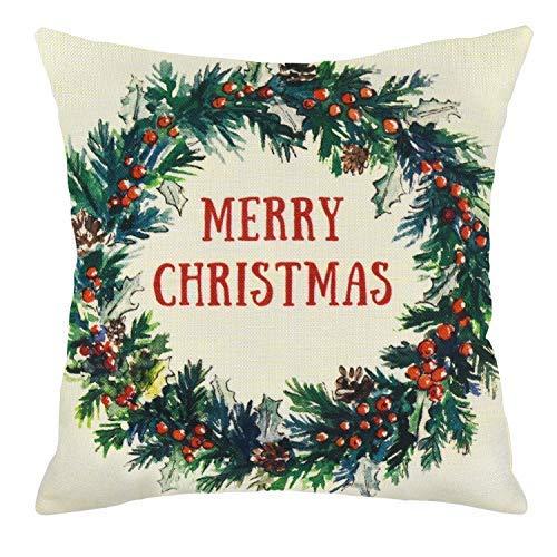 Funda de almohada de Mendoly, diseño navideño de bayas, funda de almohada de algodón y lino, fundas de almohada de 45 x 45 cm para decoración de Navidad