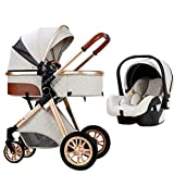 JIAX Baby Carriage Stroller 3 in 1 Baby Trolley Car Seat Stroller, Foldable Stroller Carriage Luxury Baby Pram Newborn Stroller with Cooling Pad Rain Cover Footmuff Mosquito Net (Color : White)