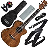 Luna Ukulele Concert Koa High Tide with Preamp and Clip-On Tuner Accessory Bundle