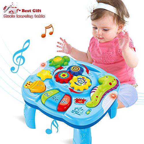 ACTRINIC Table d'étude Musicale Jouet pour Les bébés de Jouet de l'éducation précoce Jouet Musical Table de Jeux Jouet pour Les Enfants -Lumières et Sons différents 18m