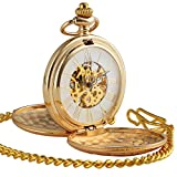 ManChDa® Antiguo Oro Reloj de Bolsillo Casos Grabados Esfera Esqueleto para los...