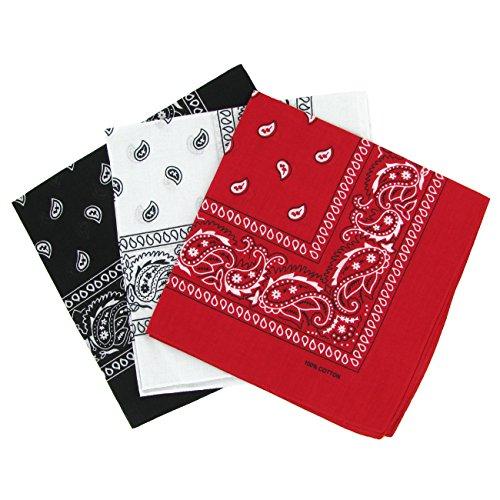 Bandanas paisley negro-blanco y rojo para hombre y mujer, bu