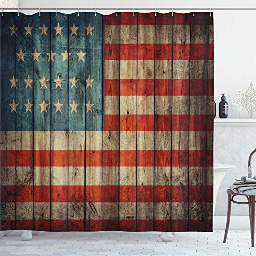 Ambesonne USA Shower Curtain, Fourth of July Independence Day Painted...