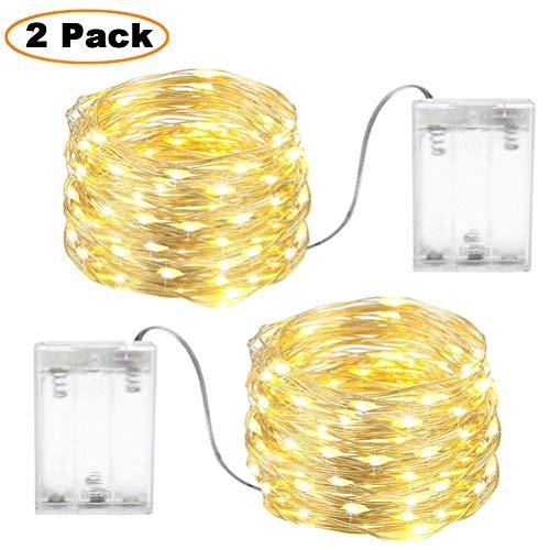 2 X Stringa luci led filo rame,3m 30LED luci natalizie batteria,esterno/interni uso,Adatto per la...
