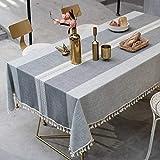 Topmail Nappe de Table Rectangulaire en Coton et Lin Nappe Rayure Gris...