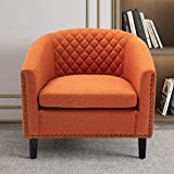 SSLine Modern Upholstered Accent Armchair Soft Linen Fabric Barrel Club Chairs for Living Room Comfy Single Sofa Office Guest Arm Chair with Solid Wood Legs and Nailhead for Bedroom (Orange Color)