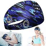 Schlafkopfhörer Bluetooth, LC-dolida 2021 Sport Stirnband Kopfhörer Musik Schlafmaske Bluetooth Kopfhörer Stirnband mit Ultradünnen HD Stereo Lautsprecher für Laufen Seitenschläfer Air Reisen Yoga