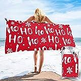 Lawenp Toalla de Playa de Secado rápido, Fondo navideño, Microfibra Estampada, Toallas de baño Ligeras, súper absorbentes para niños y Adultos, 27.5 'X55'