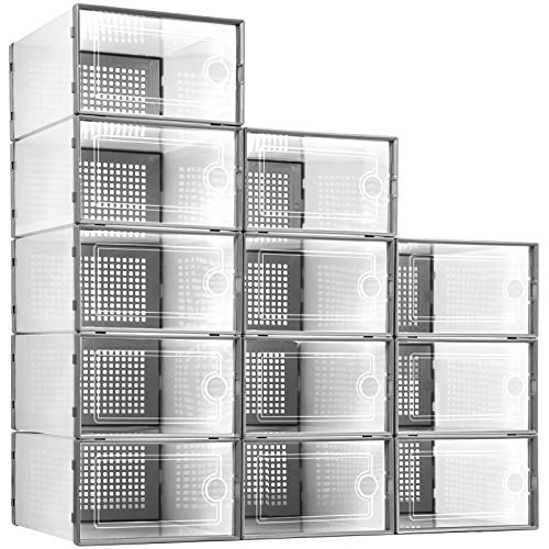 Shoe Organizer Storage Boxes for Closet 12 Packs, Kuject Clear...
