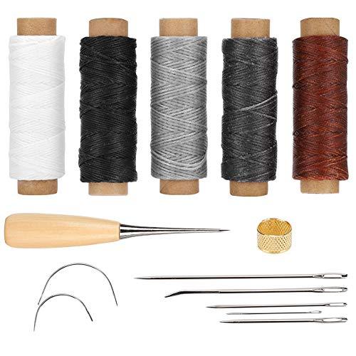 Harmloser Kupfer-Fingerhut, praktischer Wachsfaden, langlebiges DIY-Lederhandwerk Nähen handgenähter Taschen für handgefertigte DIY-Zeltkoffer Brieftaschen