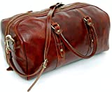 Genuine Italian Leather Holdall Cabin Bag Overnight Weekend Case Duffel Hand Luggage (Small Carry On, Brown)