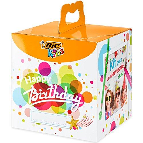 BIC 945770- Kids Colouring Box Kit Anniversario, 12 Matite per Colorare, 12 Pennarelli per Colorare, 12 Pastelli a Olio, 6 Tubetti di Colla Glitter, 30 Adesivi e 24 Cartoline da Colorare