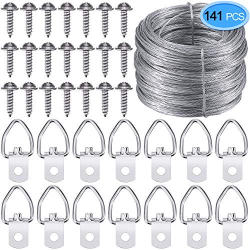 EAONE Picture Hanging Kit, Including Picture Hanging Wire (100 Feet) and 70 Pieces D-Ring Picture Hangers with 70 Silver Padded Screws