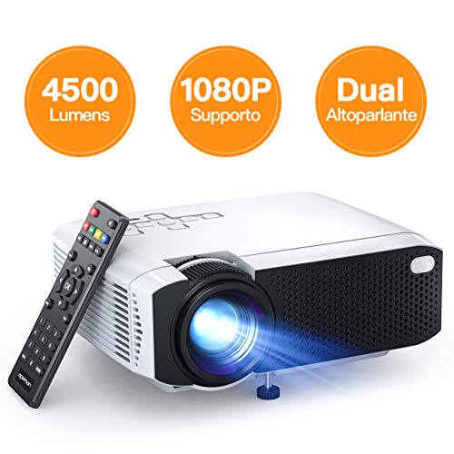 Proiettore APEMAN 4500 Lumen Mini Videoproiettore Portatile Doppio Altoparlante del LED fino 50000...