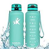 KollyKolla Botella Agua Sin BPA Deportes - 1.5L, Reutilizables Ecológica Tritan Plástico, Bebidas Botellas con Filtro & Marcador de Tiempo, para Cámping, Tapa Abatible de 1 Clic, Aguamarina Mate