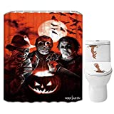 Halloween Shower Curtain Set for Bathroom- Scary Killer Freddy Jason Michael, Horror Movie Themed Holiday Polyester Fabric Decoration with Hooks and Toilet Sticker, Halloween Decor 72x72