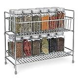 Navaris Estante plegable organizador de metal - Especiero para recipientes condimentos tarros -...