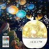 Bébé Veilleuse Projecteur,SPECOOL Les enfants Étoilé Lumière Musicale et Lumineuse 360°Rotation,8 Chansons,6 Films de Projection, pour les enfants, Bébé, Chambre, Cadeaux, Anniversaire