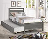 Hanway Twin Bed Frame with Trundle Bed Twin – Exquisite Pine Wood Craftsmanship – American Country Style with Distressed Surface Pull Out Bed – Ideal for Guest Bedroom