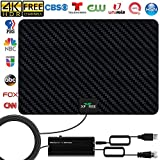TV Antenna, 2020 New Indoor Amplified HD Digital TV Antenna 130 Miles Range with Amplifier Signal Booster 4K Free Local Channels Support All Television -16.5ft Coax Cable (Dark Black)