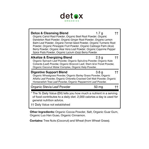 Detox Organics Chocolate Green Superfood Powder - Made with Organic Ingredients Like Kale, Wheatgrass, Chlorella, Spirulina, and Beet Juice - Perfect for Keto and Vegan Meal Replacement Shakes 4
