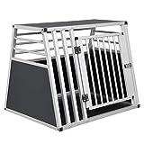 EUGAD Trasportino per Animali Box da Cani in Alluminio per Auto Viaggio Trapezoidale Nero Argento 80x65x65 cm 0007LL